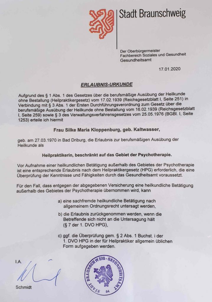 Psychotherapie Paderborn Silke Kloppenburg Urkunde